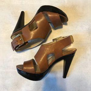 Michael Kors light brown leather platform heels